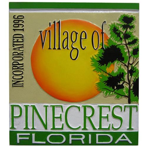 Village of Pinecrest FL Plaque