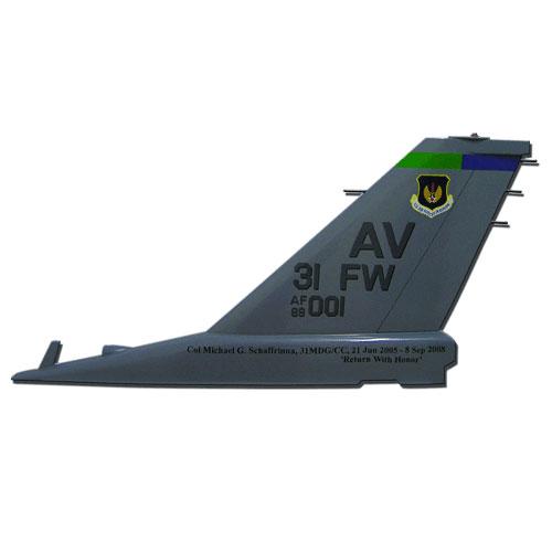 USAF F16 AV 31FW Tail Flash Wall Plaque