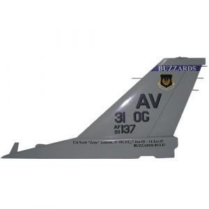 USAF F16 AV 31OG Tail Flash Wall Plaque