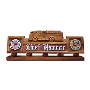 Fire Truck Desk Nameplate Model 2