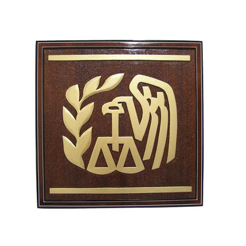 Internal Revenue Service (IRS) Gold Wooden Emblem