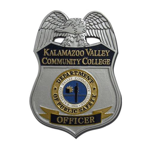 Kalmazoo Valley Comm College Officer Badge Plaque