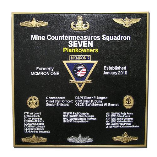 Mine Countermeasures SQ-7 Deployment Plaque