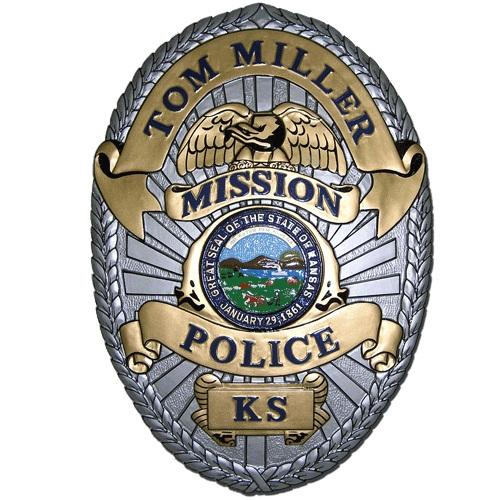 Mission Kansas Police Officer Badge Plaque