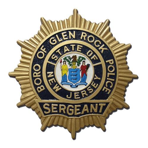 NJ Boro of Glen Rock Police Sergeant Badge Plaque