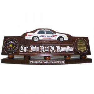Police Patrol Car Desk Nameplate Model 1