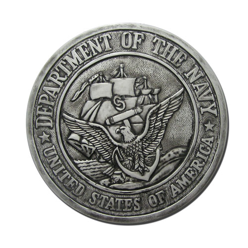 US Navy USN Seal Antique Silver