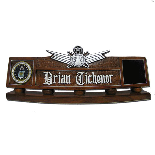 USAF Master Space Missile Badge Desk Nameplate