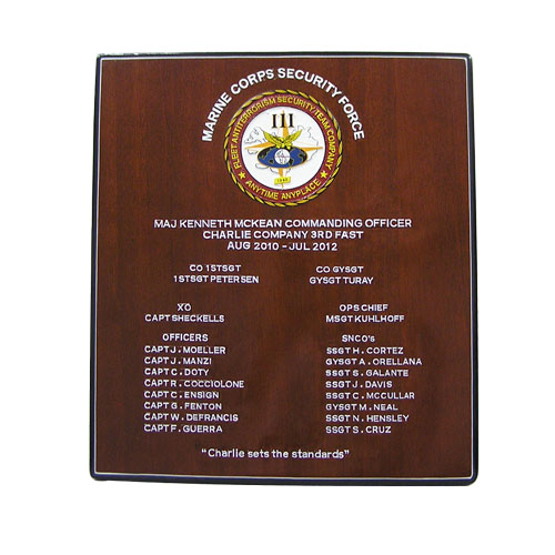 USMC Security Force Deployment Plaque