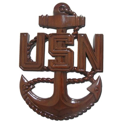 US Navy (USN) Wooden Anchor Plaque CPO E7