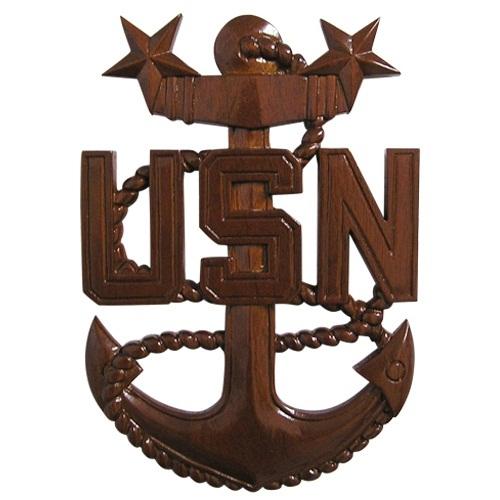 US Navy Wooden Anchor Plaque MCPO E9