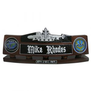 USN Submarine Patrol Insignia Desk Nameplate